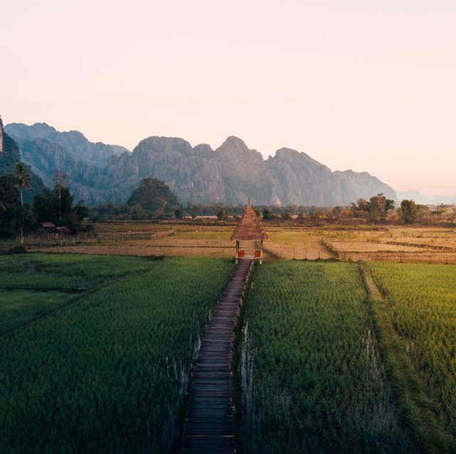 A building in the rice paddies in Laos