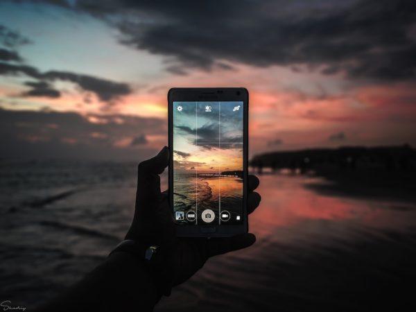 smartphone sunset