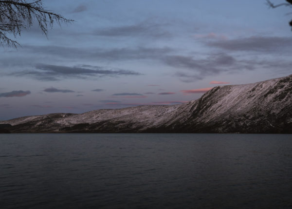 loch with hills at dusk
