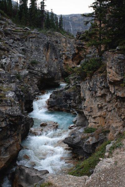 river running through jagged rock