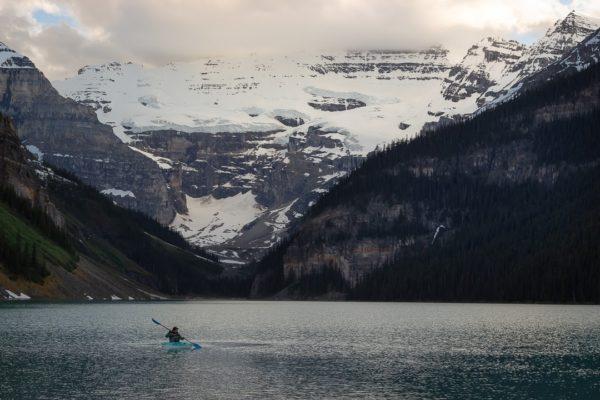 kayaker on a Canadian rockies lake