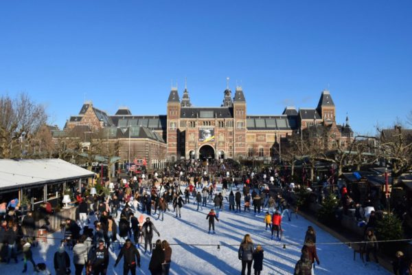ice skating rink at rijksmuseum amsterdam