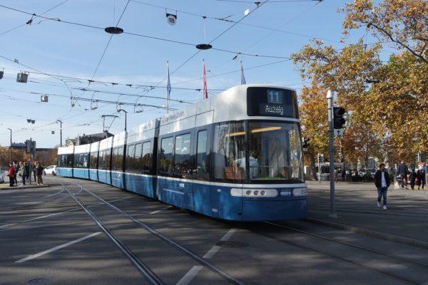 Trams in Zurich.
