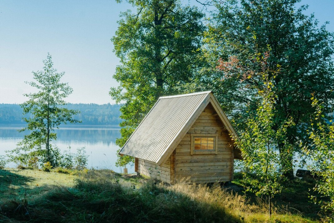 cabin by water