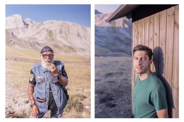 left photograph person stands in desert scape smoking a pipe, right photograph person stands against a wooden building staring into the camera