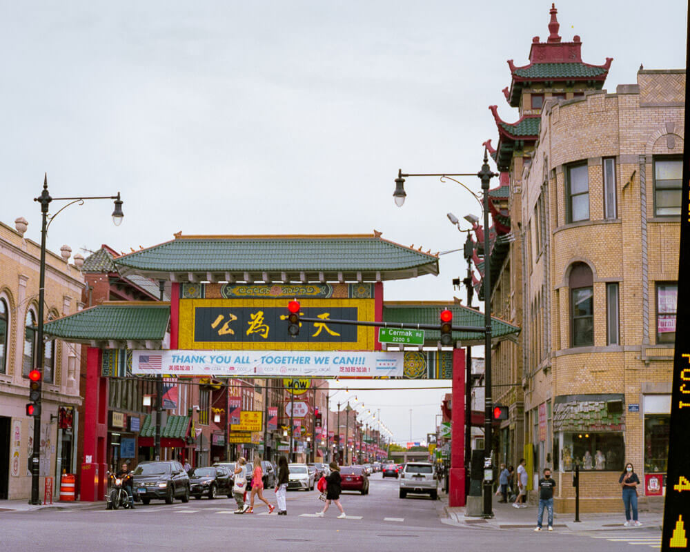 China town with inspirational banner
