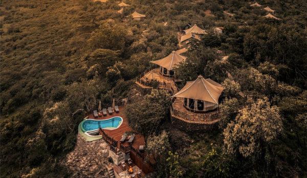 Aerial view Ol Seki Hemingway lodge in Kenya