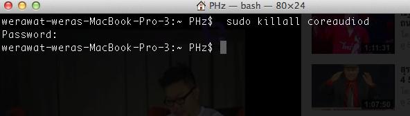 Resetting Audio in Mac OSX แก้ปัญหาเสียงหยุดเล่น