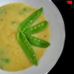 Potato soup with snow peas.