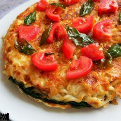 Pasta omelette.