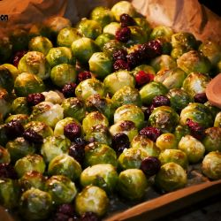 Roasted Brussels sprouts with dried cranberries.