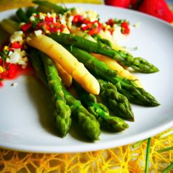 Herb vinaigrette asparagus salad.
