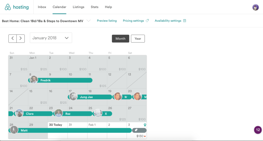 Airbnb Calendar