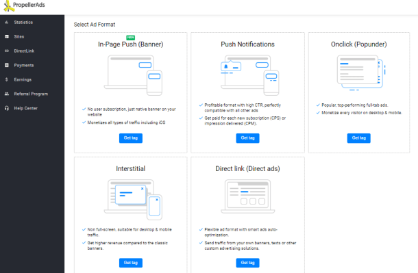 ad types available, screenshot