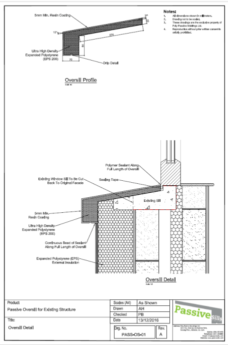 Oversill technical drawing and dimensions.