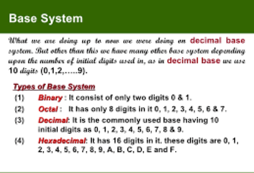 Number Base System Passnownowcom