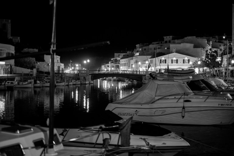 Menorca Ciutadella and Harbour at night