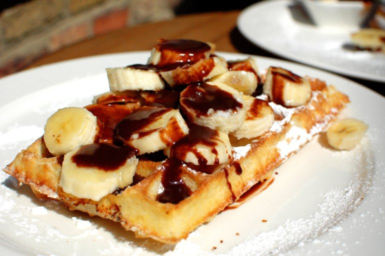 Belgian Waffles with Chocolate and Banana - A Travel Guide to Bruges, Belgium