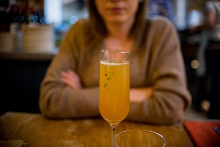 Pear nectar and thyme mimosa, Jurassic Cottage Kitchen, Lyme Regis
