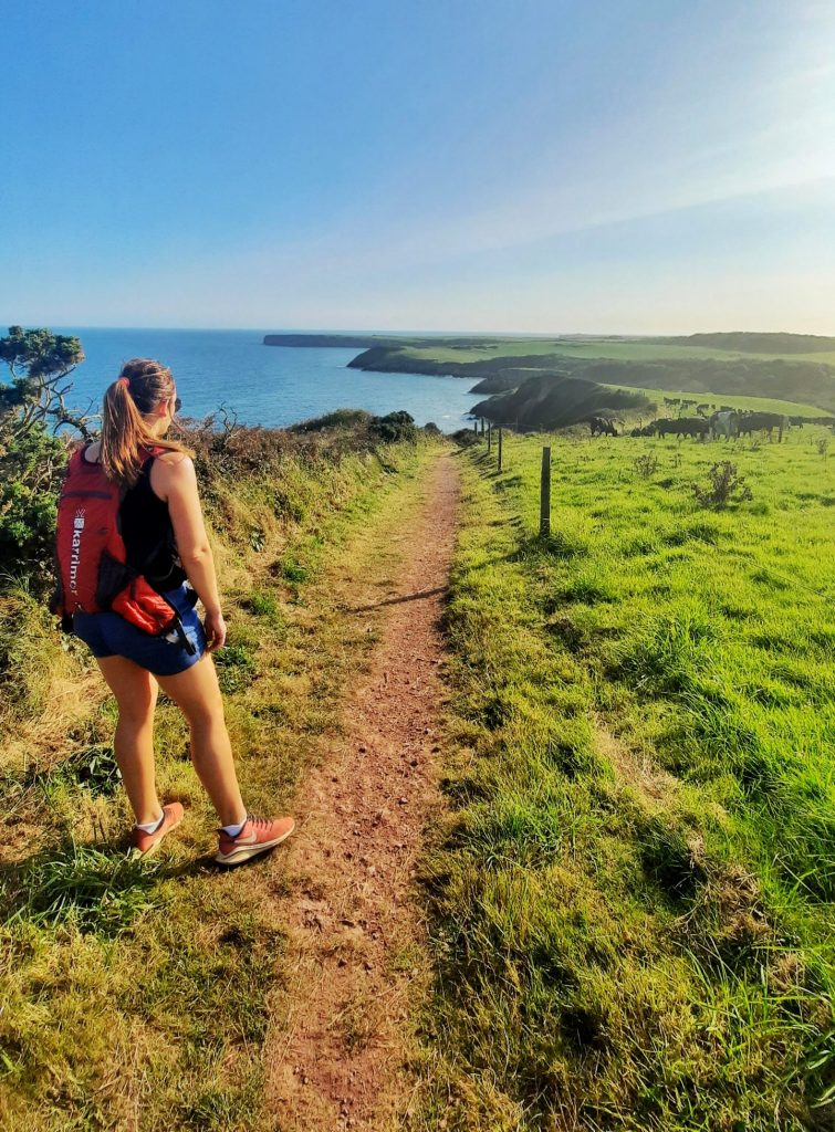 Girl walking on the Pembrokeshire Coast Path from Freshwater East to Stackpole Quay