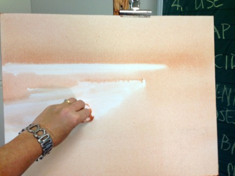 Golden OPEN Acryic on canvas ~ first I toned the canvas with a burnt sienna wash and wiped back the highlights.