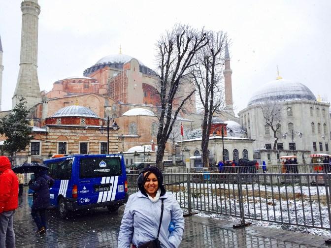 Waiting outside the Hagia Sofia!