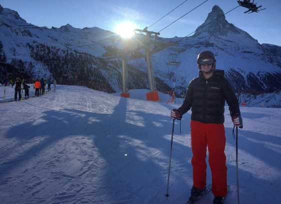 Photo of me with skies, Zermatt