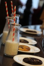 Milk and cookies (chocolate chip, triple chocolate).