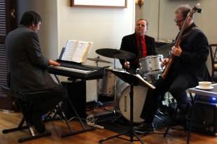A live band serenades the room.
