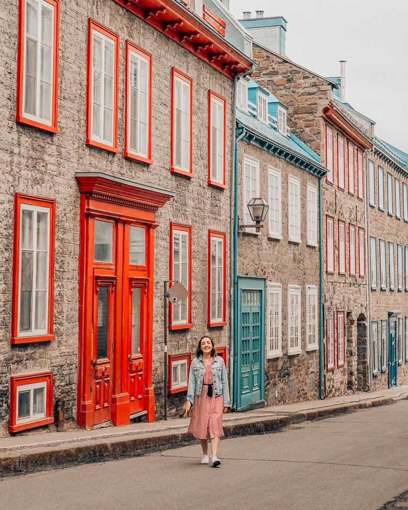 colourful street in quebec city old town