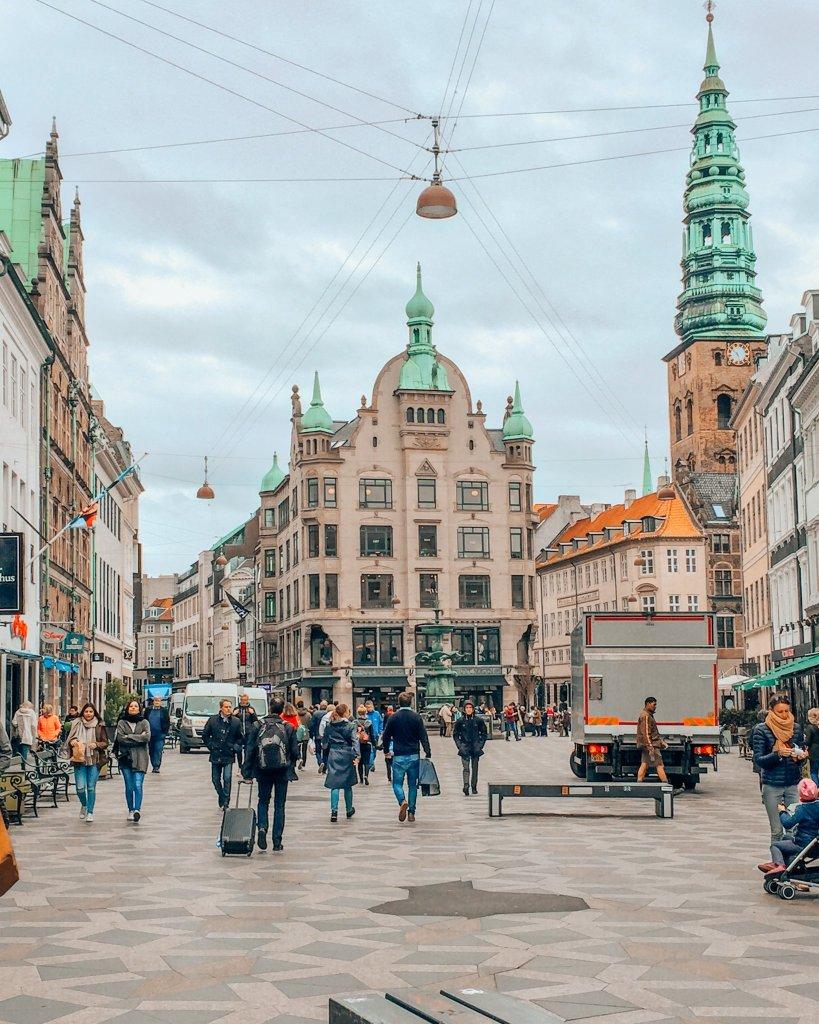 Stroget street in Copenhagen