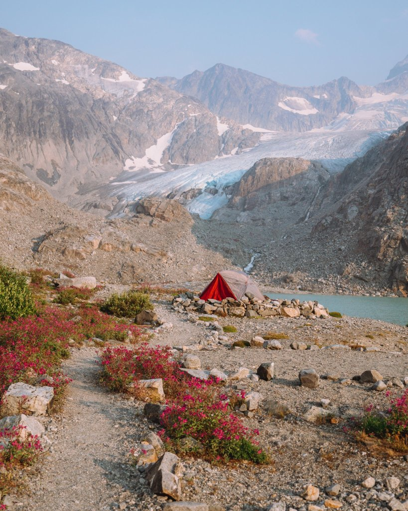 Wedgemount Lake camping pad with tent