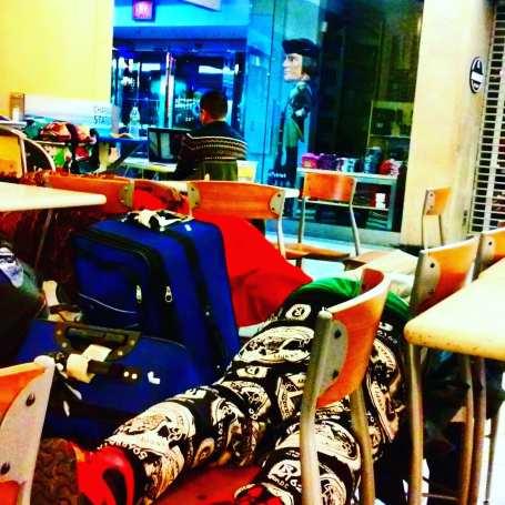 people sleeping at the food court, Hugo Morel