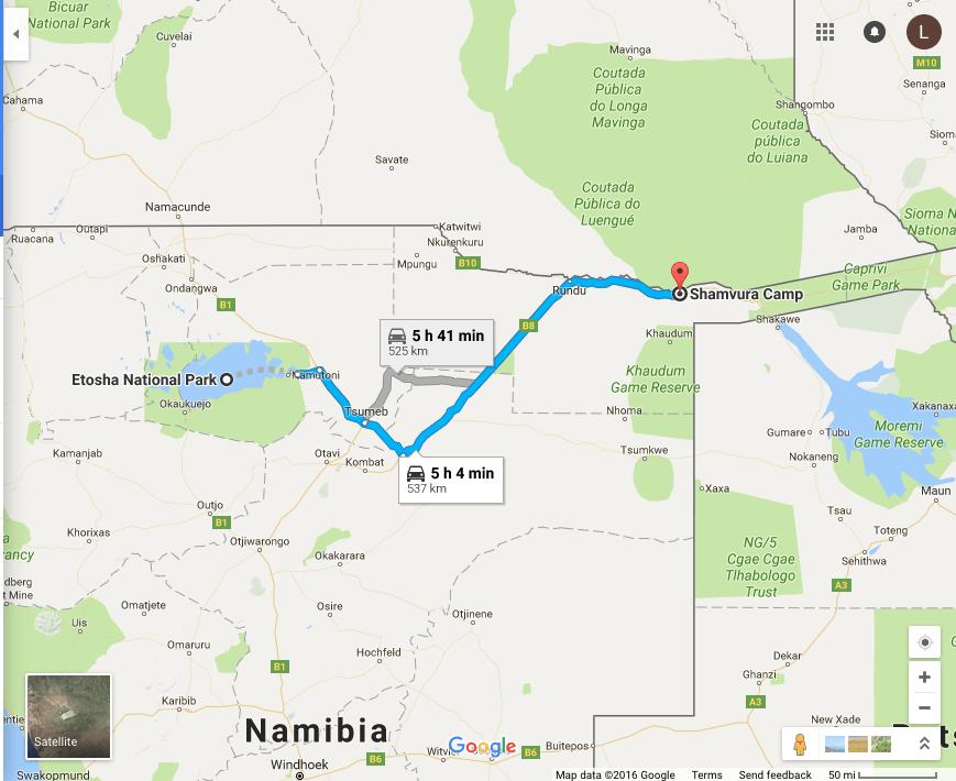 Etosha National Park, Namibia to Shamvura, Namibia