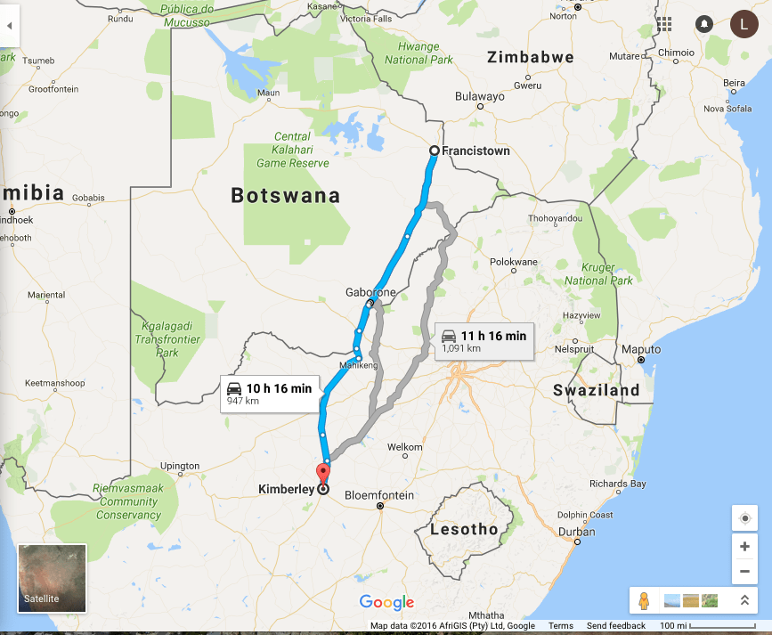 Francistown, Botswana to Kimberley, South Africa