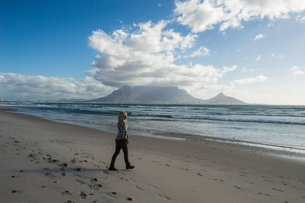 Walking Dolphin Beach with Table Mountain in the background