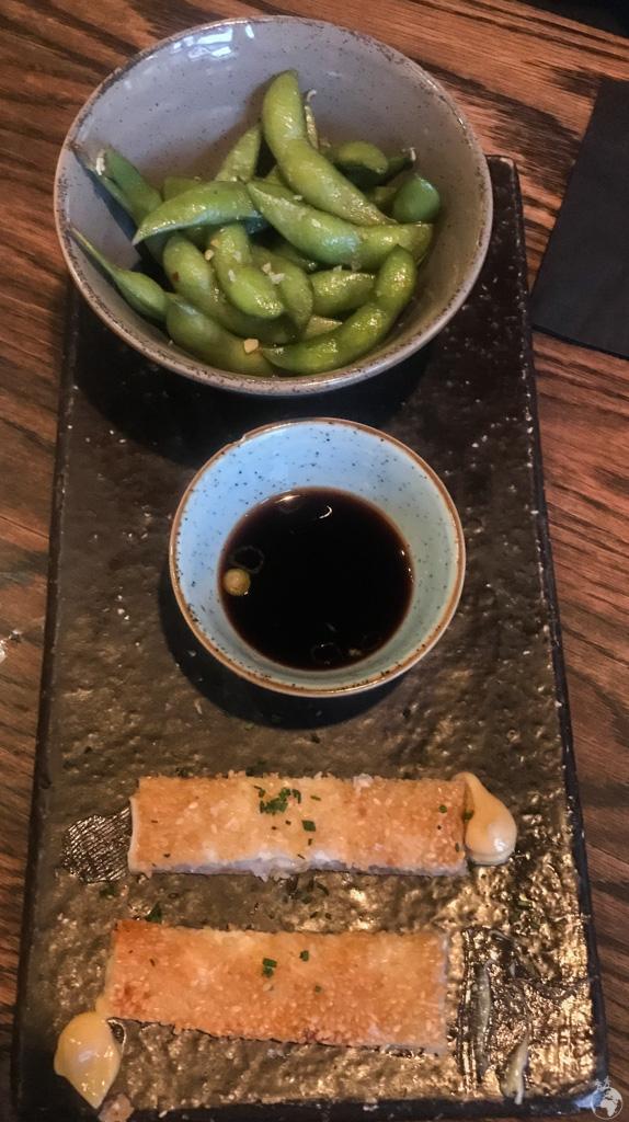 The Para Picar at Charango was a trio of Edamame, prawn tostados, and a homemade sauce