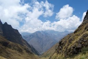 Looking out at the Andes Mountains from Dead Woman's Pass on the Inca Trail in Peru