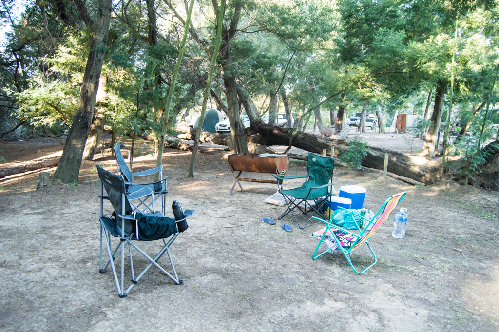 Camping chairs and braai for the night.