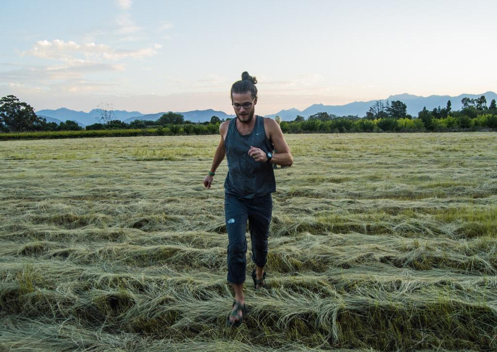 Running through fields at Rivierplaas