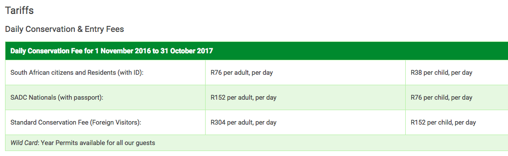 Information on Kruger National Park Rates from the SANParks website