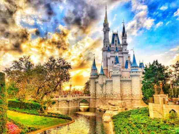 Sunset at Magic Kingdom when visiting Disney on a budget