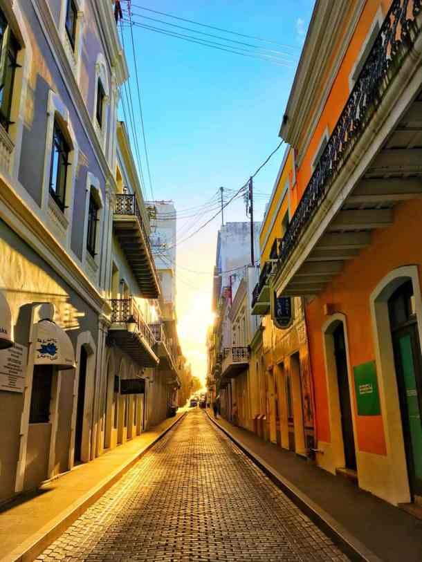 A street at sunset in Old San Juan