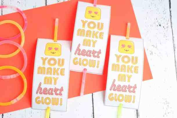 diy glow bracelet valentines cards