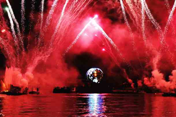 Epcot Illuminations Fireworks Show From The Boardwalk When Visiting Disney on a Budget