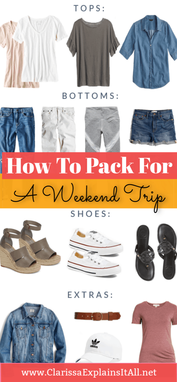 Do you know what to pack when traveling for a weekend?I am sharing easy to wear, stylish clothing, shoes and accessories perfect for packing in a carry on.