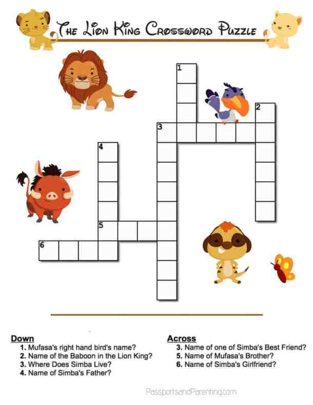 The Lion King Movie Printable Crossword Puzzle