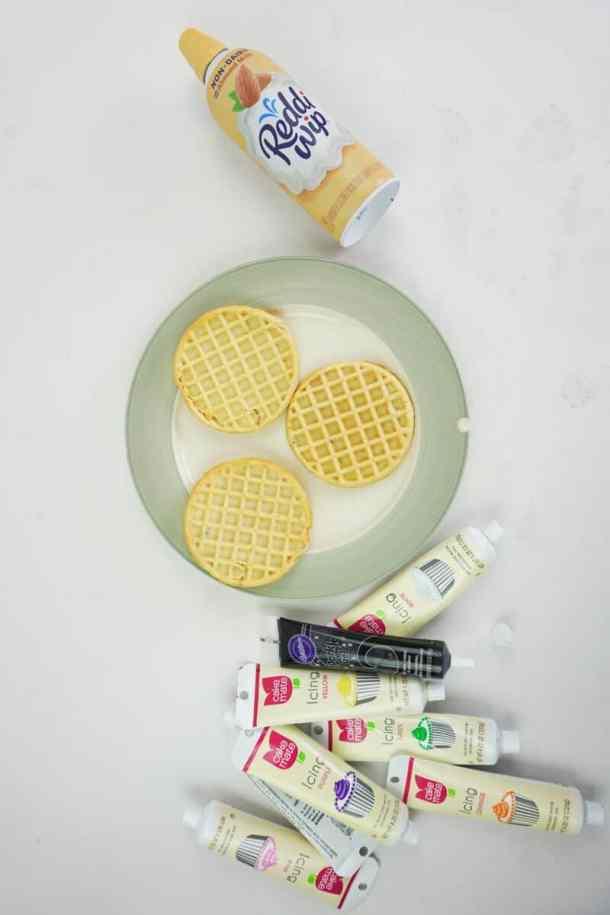 Stranger Things Season 3 waffle cake ingredients flat lay.