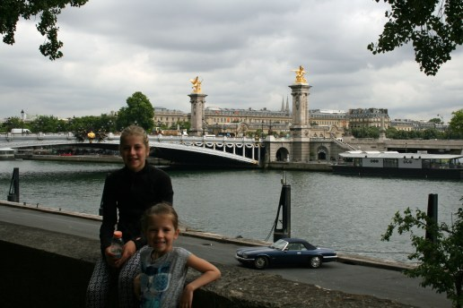 The girls in front of Pont Alexandre III, Paris, France