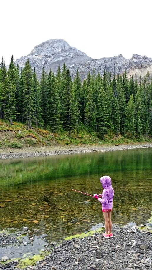Fishing at Allstones Lake, Alberta, Canada